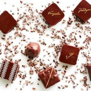 Recchiuti Confections Noir Box Truffles shown with cacao nibs